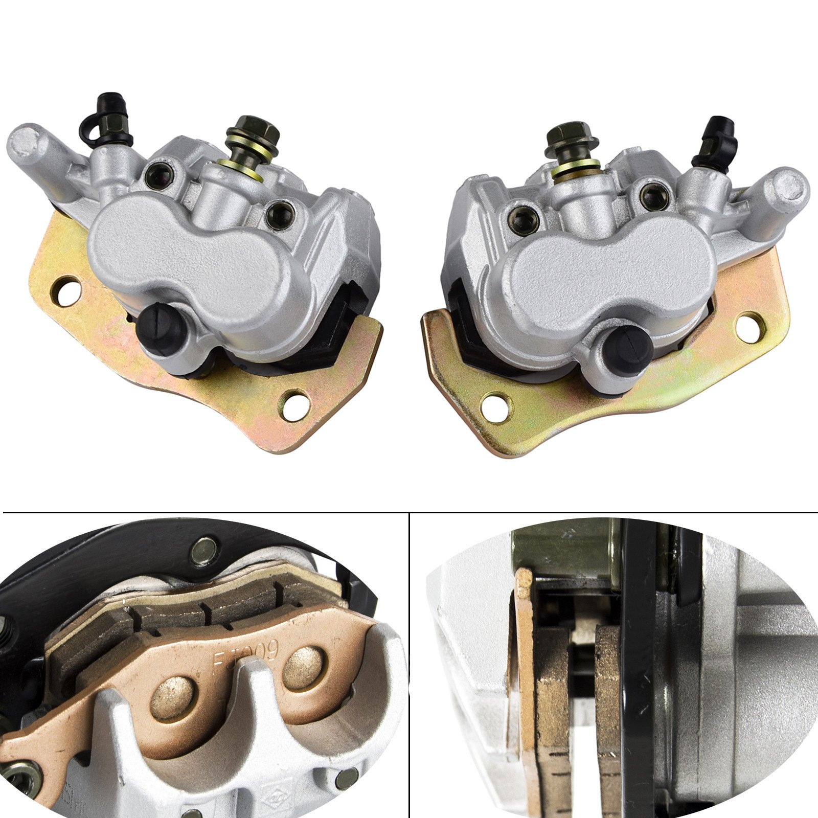 NICECNC Front Right & Left Brake Caliper With Pads for YAMAHA UTV RHINO 660 YXR660 YXR450 2004-2009 RHINO 450 2006-2009 RHINO 700 2008-2013 SUZUKI BURGMAN AN400 2007-2011 by NICECNC