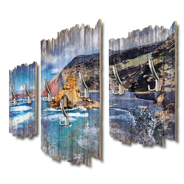 Kreative Feder Schwarzer Strand Lanzarote Designer Wandgarderobe Flurgarderobe Wandpaneele 95 x 60 cm aus MDF DTGH089