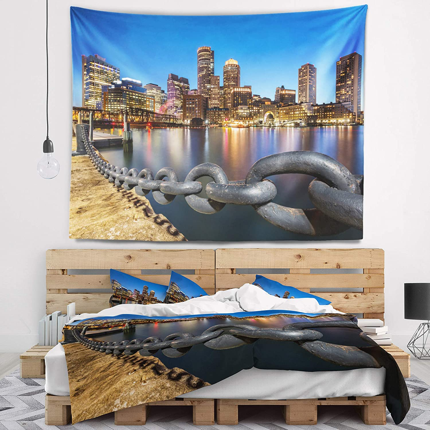X 68 In 80 In Created On Lightweight Polyester Fabric Designart Tap8625 80 68 Boston Skyline At Dusk Cityscape Photo Blanket Décor Art For Home And Office Wall Tapestry X Large