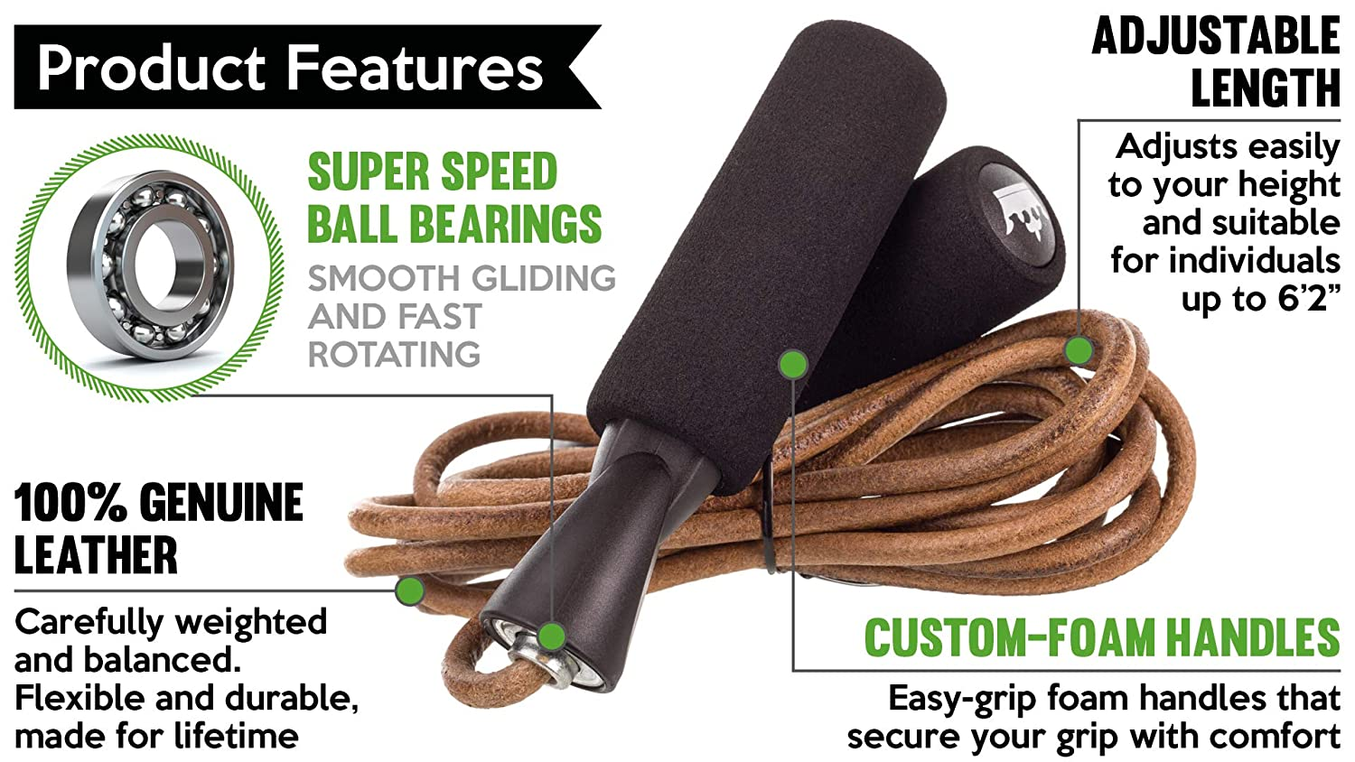 2X Leather Jump Rope Heavy Duty Crossfit Boxing Ball Bearing Fitness Ultra Speed