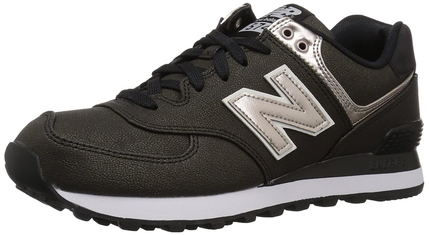 New Balance Women's 574v1 Sneaker B01N5XE9UK 8.5 B(M) US|Black/Champagne Metallic