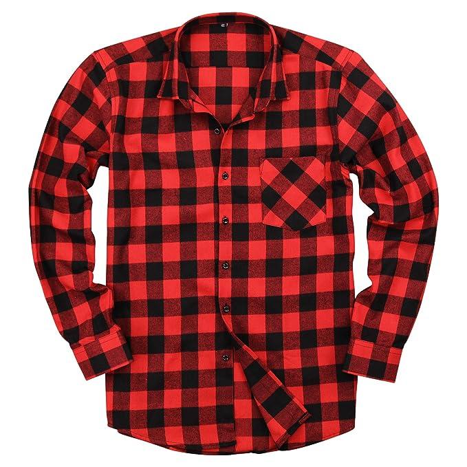 Amazon.com: Camiseta de manga larga para hombre de franela ...