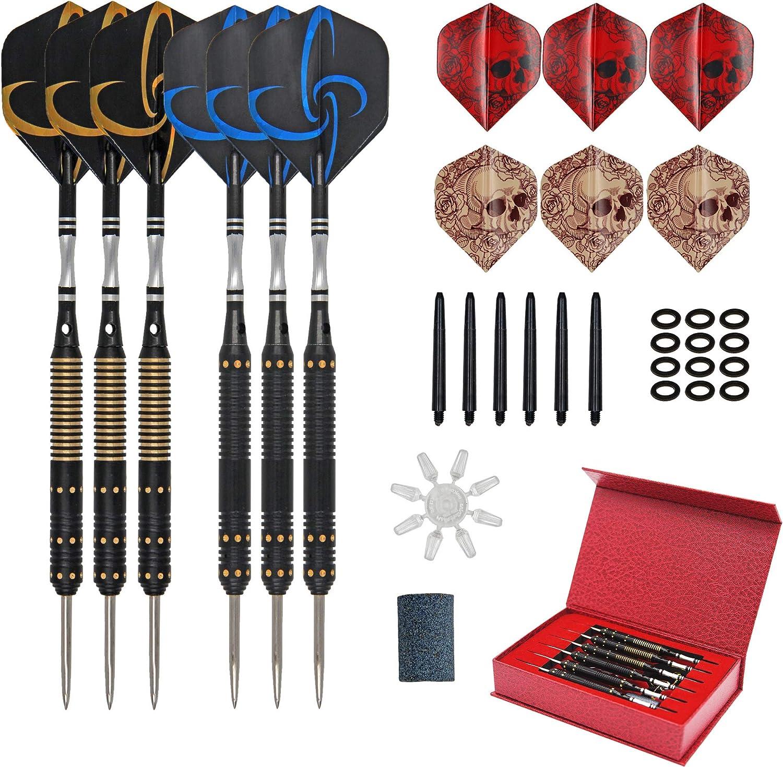 12PCS//Set Steel Tip Darts Tungsten Barrel+Flight+Shafts Professional Dart Kit