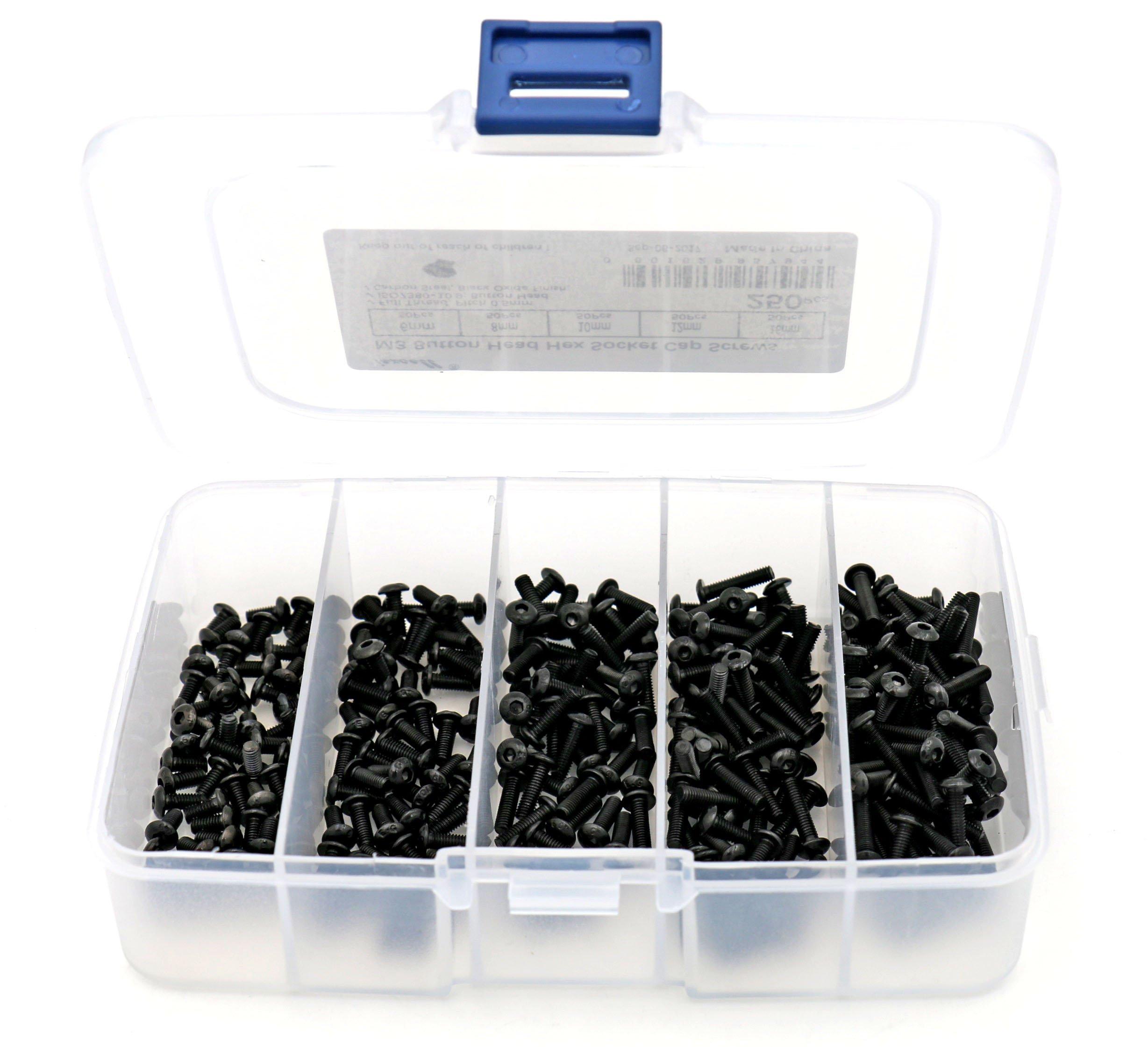 iExcell 250 Pcs M3 x 6mm/8mm/10mm/12mm/16mm Alloy Steel Internal Hex Drives Button Head Hex Socket Screws Kit, Black Oxide Finish