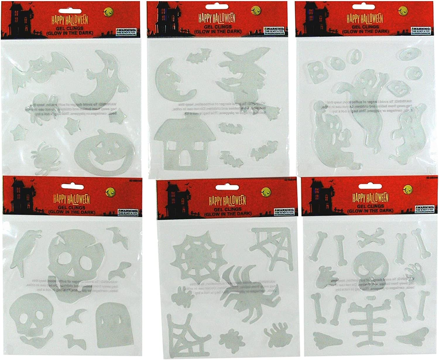6 Sheets of Bats Halloween Glow-In-The-Dark Gel Clings Bundle Witches,Skull and Crossbones and Other Halloween Related Figures Ghosts
