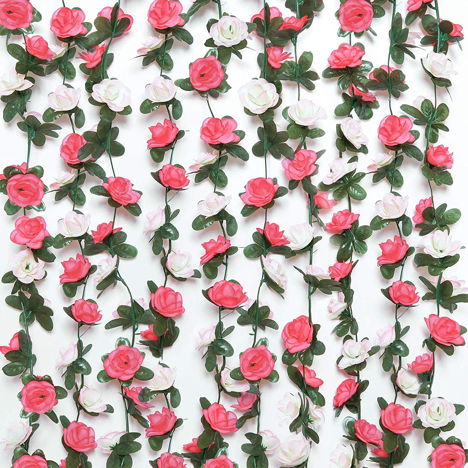 COCOBOO 6 Pack Fake Rose Vines Garland for Room Decor Artificial Rose Flower Hanging Rose Ivy Home Hotel Office Wedding Party Garden Craft Art Décor (Light Pink, Red)