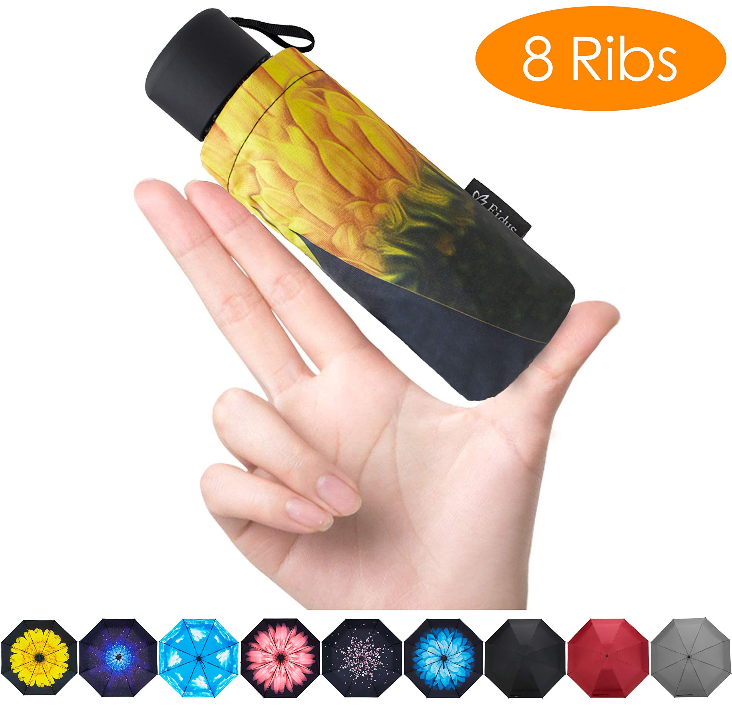 FidusUpgraded 8 Ribs Mini Portable Sun&Rain Lightweight WindproofUmbrella - Compact Parasol Outdoor Travel Umbrella for MenWomen Kids-Sunflower by Fidus