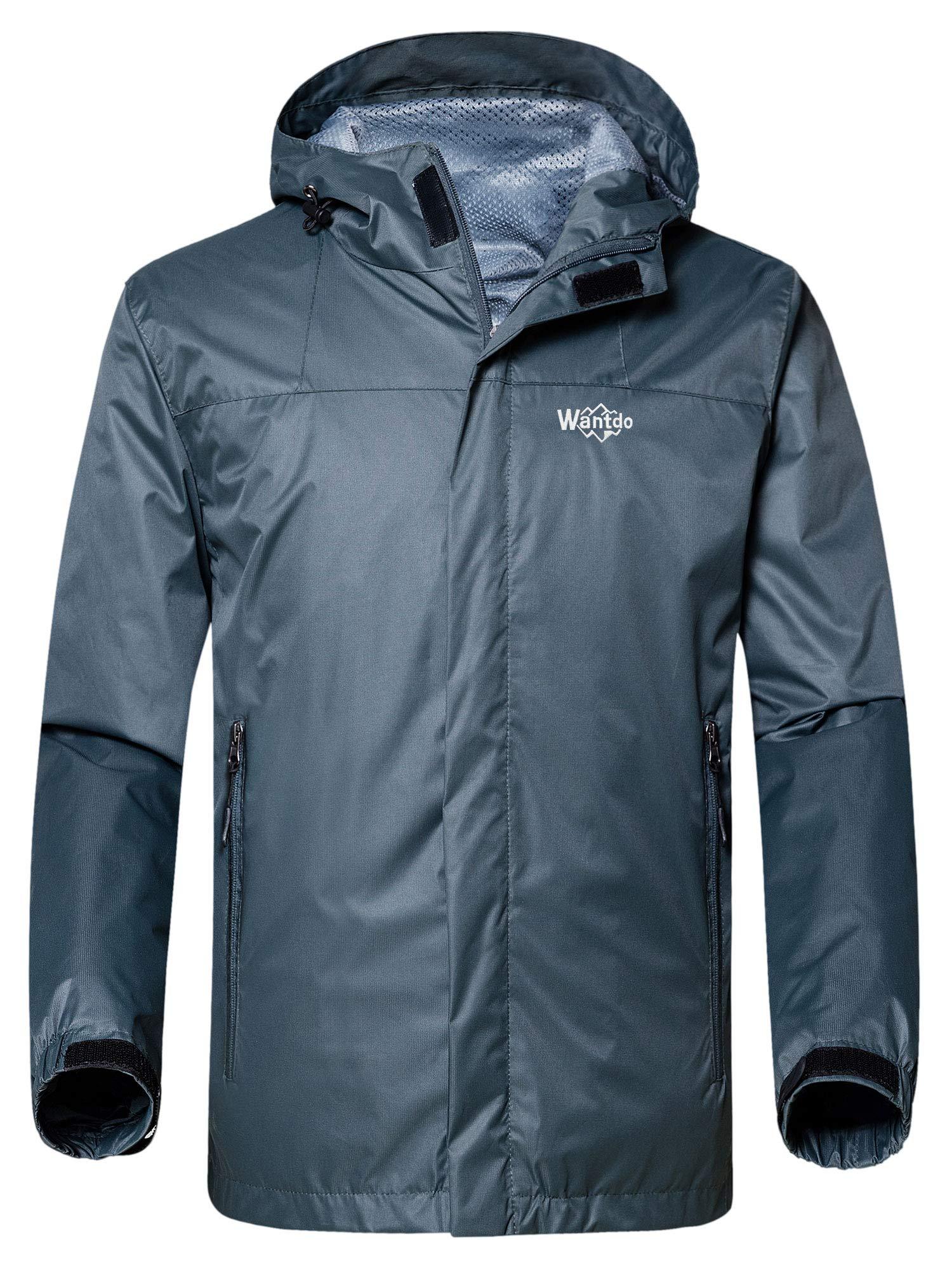 bc038d086 Galleon - Wantdo Men's Zipper Raincoat Outdoor Windproof Wind Breaker  Packable Jacket For Hiking Grey XL