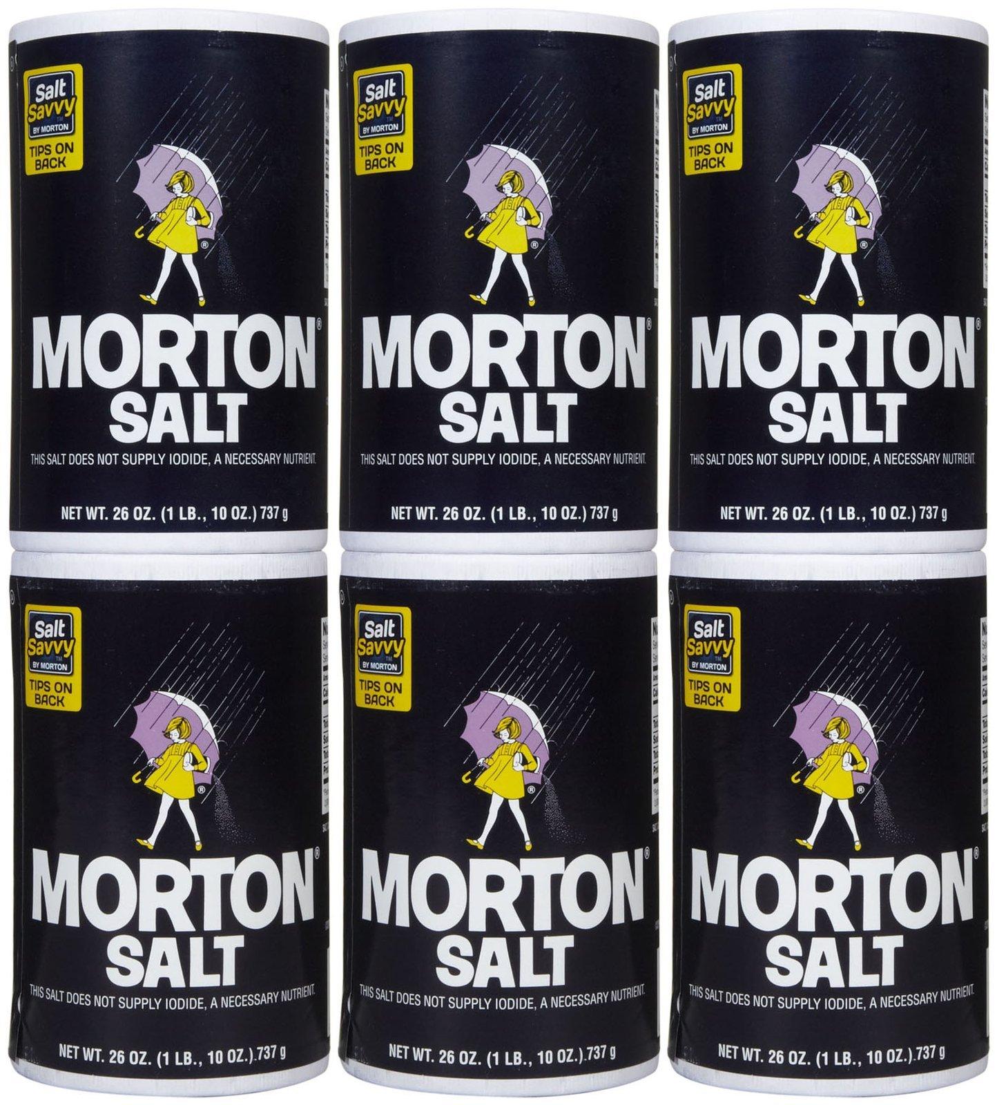 Morton Salt Regular Salt, 26 oz, 6 pk