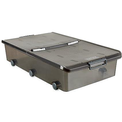 Tatay 1151114 Caja de Almacenamiento Multiusos Bajo Cama con Tapa y Ruedas, 63 l de
