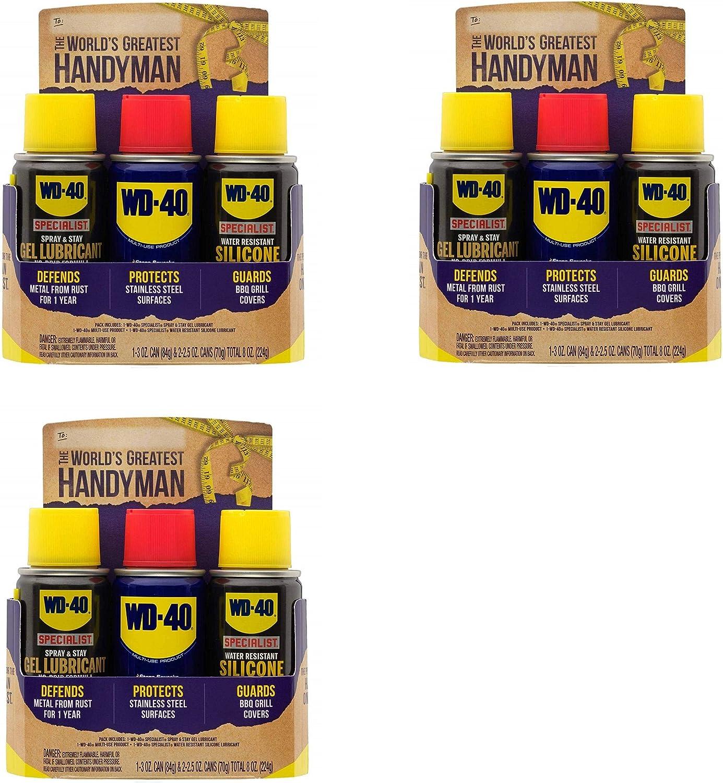 WD-40 Handyman Trio (3) Pack Portable Lubricante Kit con Original Multiuso, WD-40 Specialist Silicona Lubricante, WD-40 Specialist Gel Lubricante: Amazon.es: Hogar