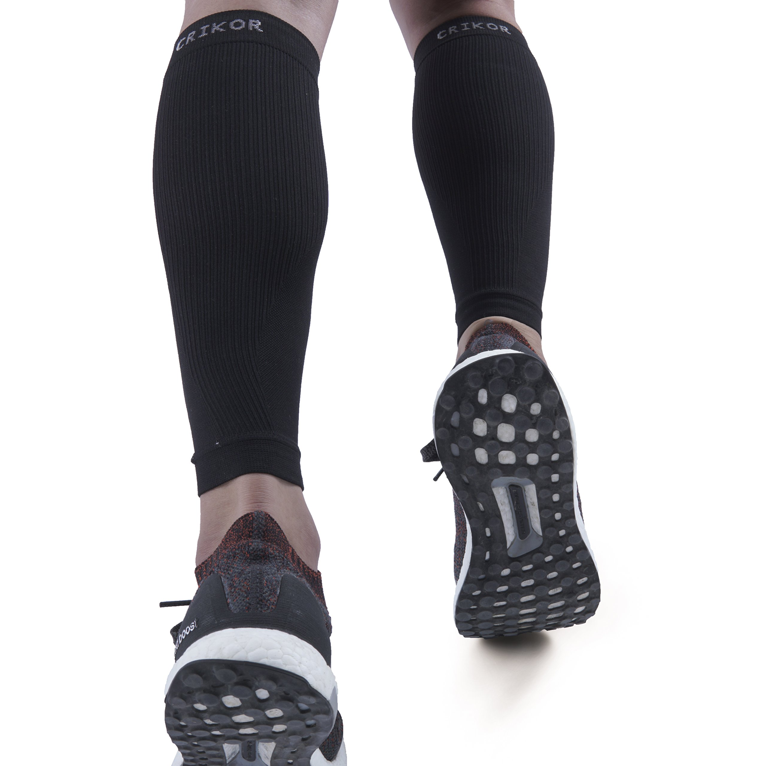 Crikor Calf Compression Sleeve (1-Pair) Improves Circulation and Recovery for Shin Splint, Calf Pain, Swelling, Leg Cramps - Man Women Runners Guards Sleeves for Running, Cycling, Maternity, Travel by Crikor Sports (Image #1)