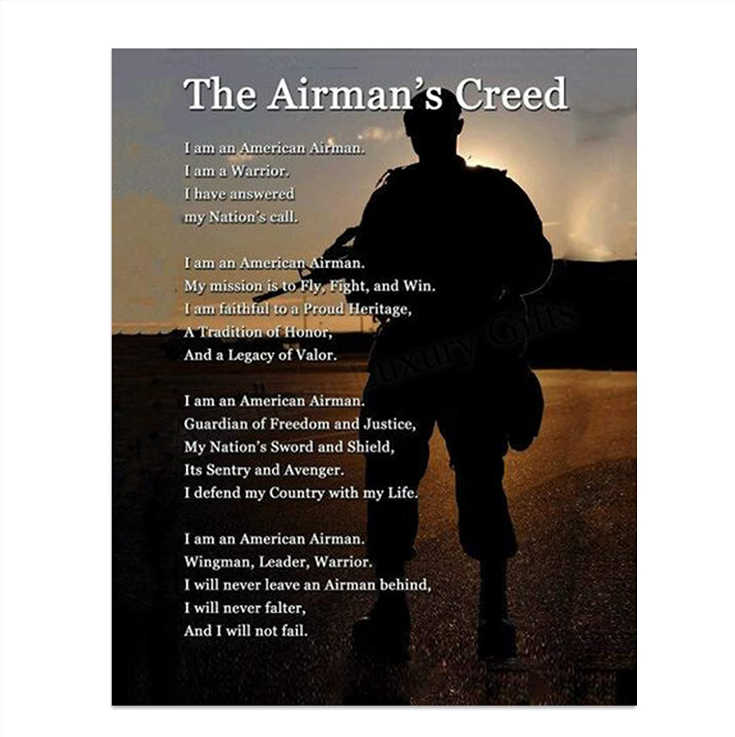 """The Airman's Creed"" Wall Art- 8 x 10""- Wall Prints- Ready To Frame. US Air Force- American Airman, Warrior, Wingman Poster Print. Home Decor-Office Decor-Military Decor. Display Your Honor & Pride."