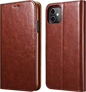 icarercase iPhone 11 Wallet Case, Folio Flip Magnetic Pu Leather Cover with Kickstand and Credit Slots for iPhone 11 6.1 inch 2019 (Brown)