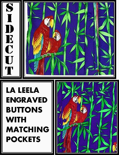 a5669fbf3 LA LEELA Likre Men's Hawaiian Shirt Royal Blue 516 X-Small   Chest 36