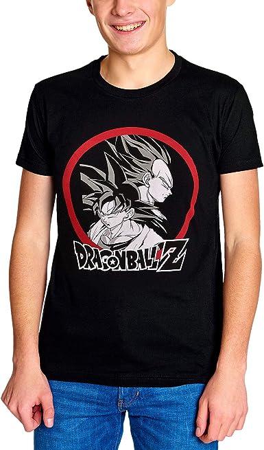 Elbenwald Dragon Ball Z para Hombre de la Camiseta de Son Goku vs Vegeta algodón Negro: Amazon.es: Ropa y accesorios