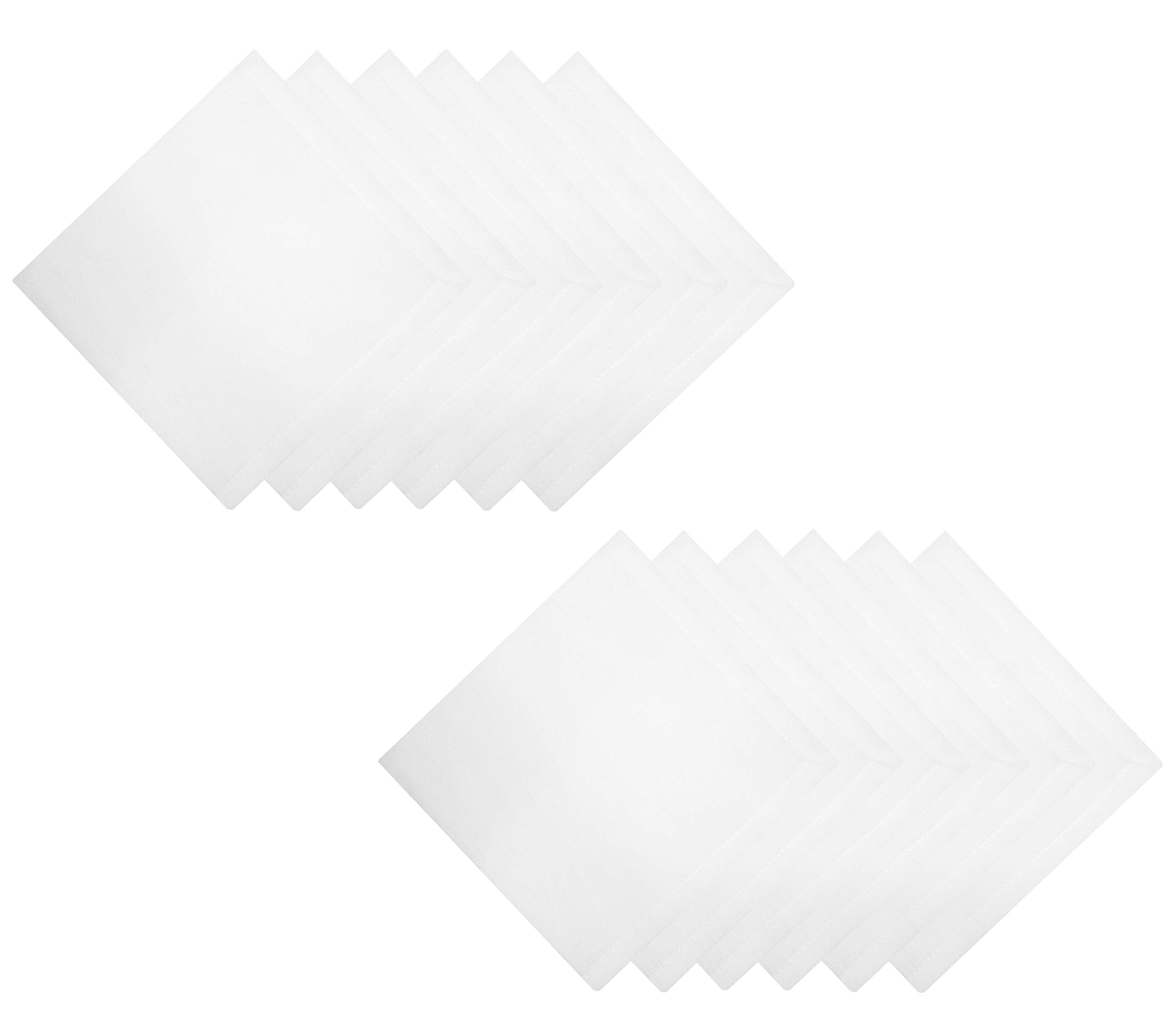 Tiny Break Cloth Napkins 17 x 17 inch -100% Cotton - Soft and Comfortable - Ideal for Events and Regular Home Use - White -12 Pack