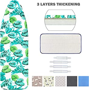 "Ironing Board Cover and Pad Standard Size 15"" x 54"",Elastic Edges and 4 Adjustable Fasteners Make 3 Layer Padded Ironing Board Cover Surface Smoother,1 Large Protective Scorch Mesh Cloth"