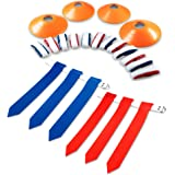 14 Player Flag Football Set with 3 Flags per Belt - Includes 12 Field Cones and Mesh Bag - Premium 68 Piece Heavy Duty Kit