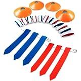 14 Player Flag Football Flags | 3 Heavy Duty Flags per Belt | 12 Cones & Bag…