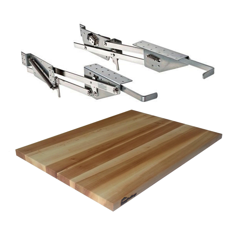 Rev-A-Shelf - RAS-ML-HDCR - Full Height Base Cabinet Heavy Duty Mixer Lift - Includes 3/4'' x 15'' x 19'' Shelf Platform for 21'' width Base Cabinet - Maple Butcher Block - Trimmable