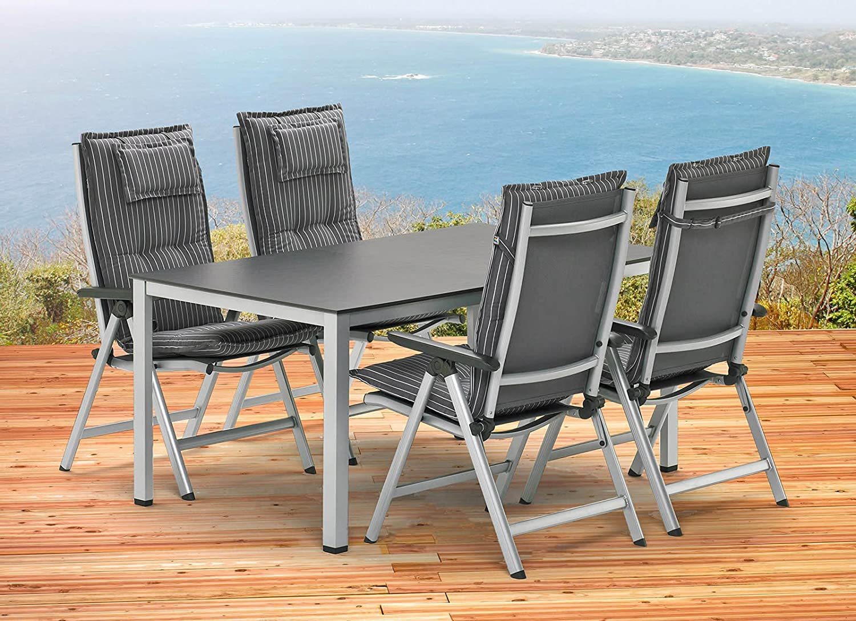 Kettler Sylt 1 Tisch 140 x 95 cm und 4 Sessel und 4 Auflagen Gartenmöbel in silber anthrazit