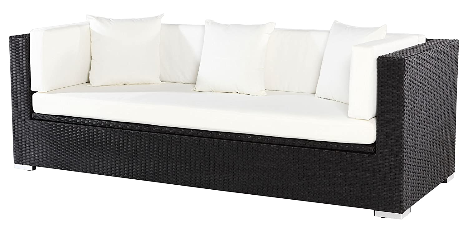 outflexx sofa aus polyrattan mit kissenboxfunktion inkl polster f r 3 pers 210x85x70cm. Black Bedroom Furniture Sets. Home Design Ideas