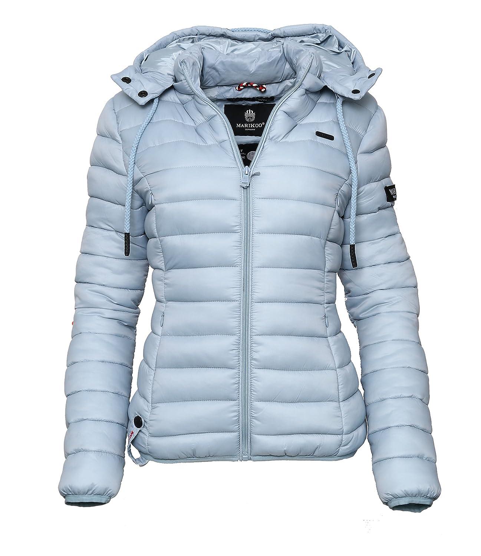Marikoo Damen Übergangs Steppjacke Herbst Winter Jacke mit Kapuze 10 Farben XS XXL EIN&Alles