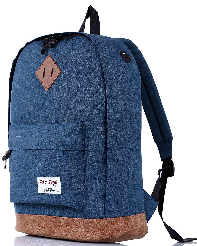 936Plus College School Backpack Travel Rucksack | Fits 15.6'' Laptop | 18''x12''x6'' | Navy