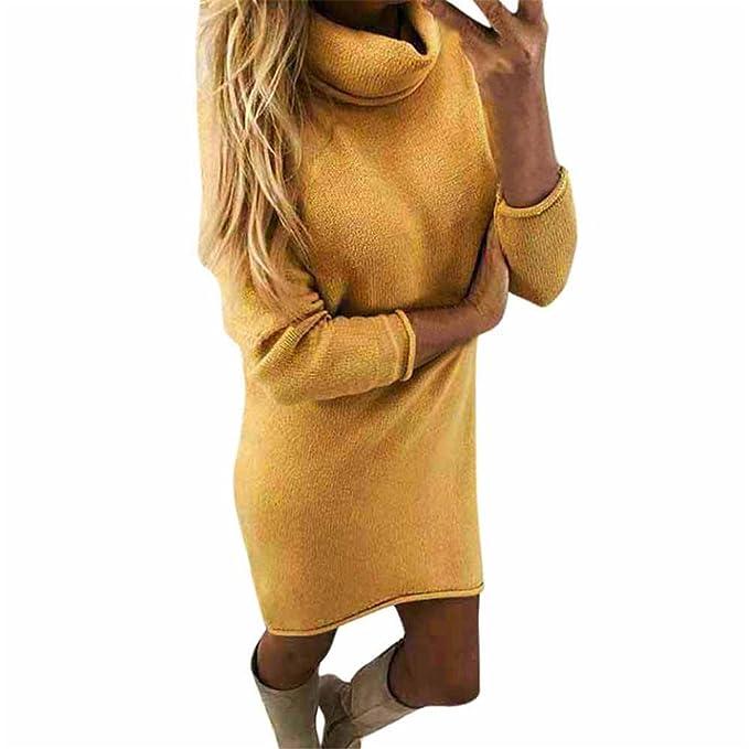 Longra Vestido de Otoño Invierno Mujer, Mujeres Casual Manga Larga suéteres Jersey Chaqueta: Amazon.es: Ropa y accesorios