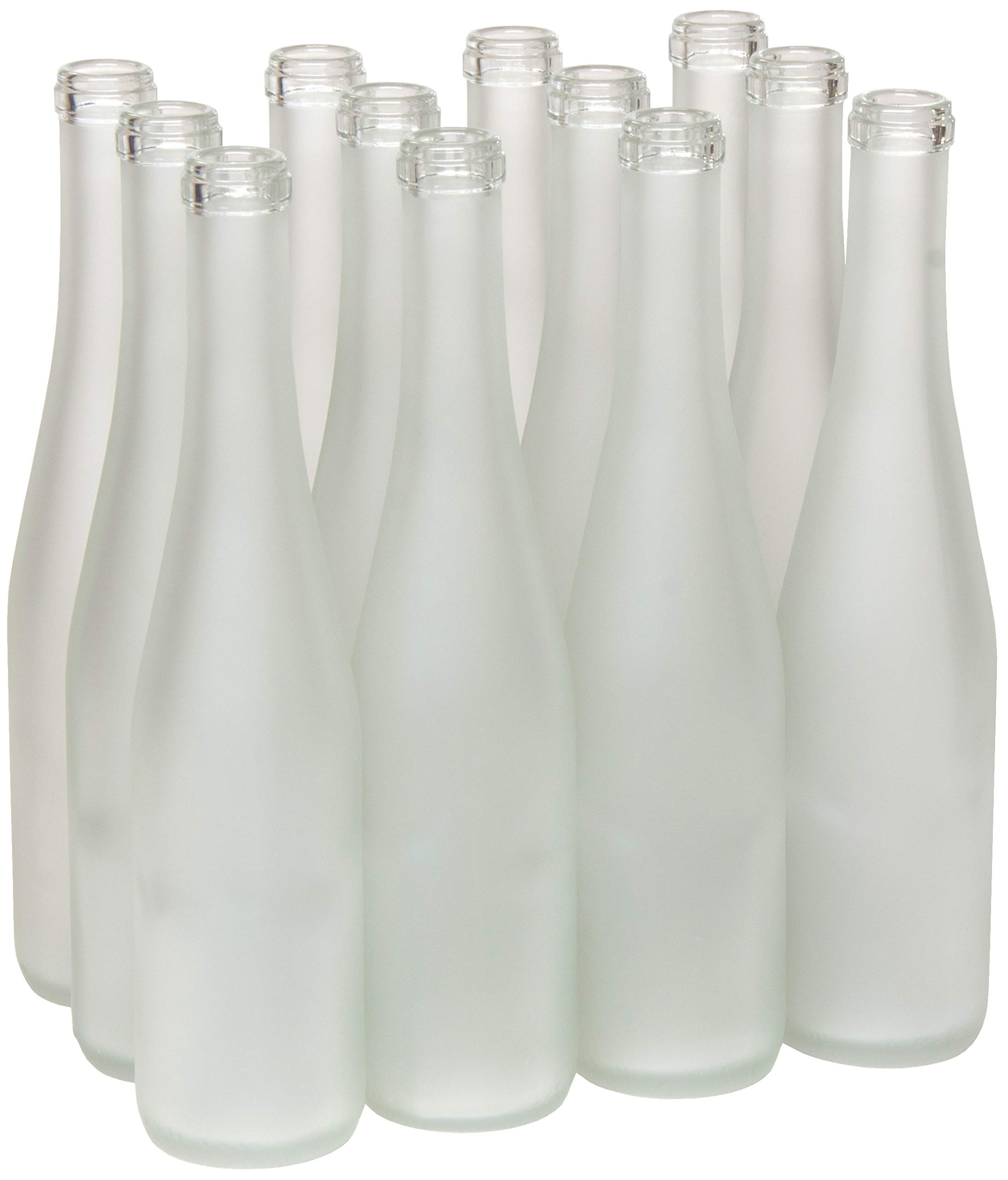 North Mountain Supply 375ml Frosted Glass Stretch Hock Wine Bottle Flat-Bottomed Cork Finish - Case of 12