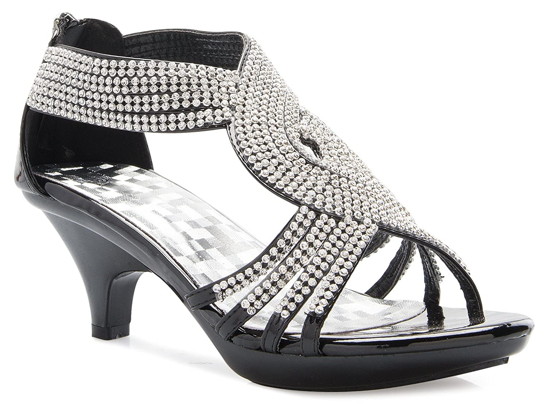 346a708e9ad1 Amazon.com  OLIVIA K Women s Open Toe Strappy Rhinestone Dress Sandal Low  Heel Wedding Shoes  Shoes