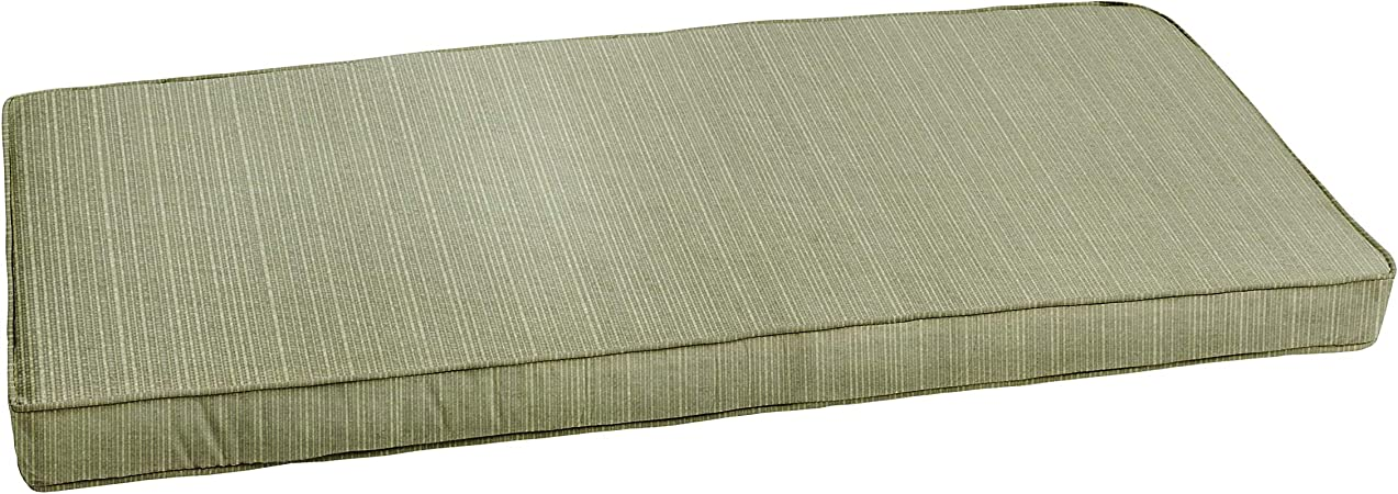 Mozaic AZCS0138 Indoor or Outdoor Sunbrella Bench Cushion with Corded Edges and Tie Backs, 60 in W x 19 in D, Dupione Laurel