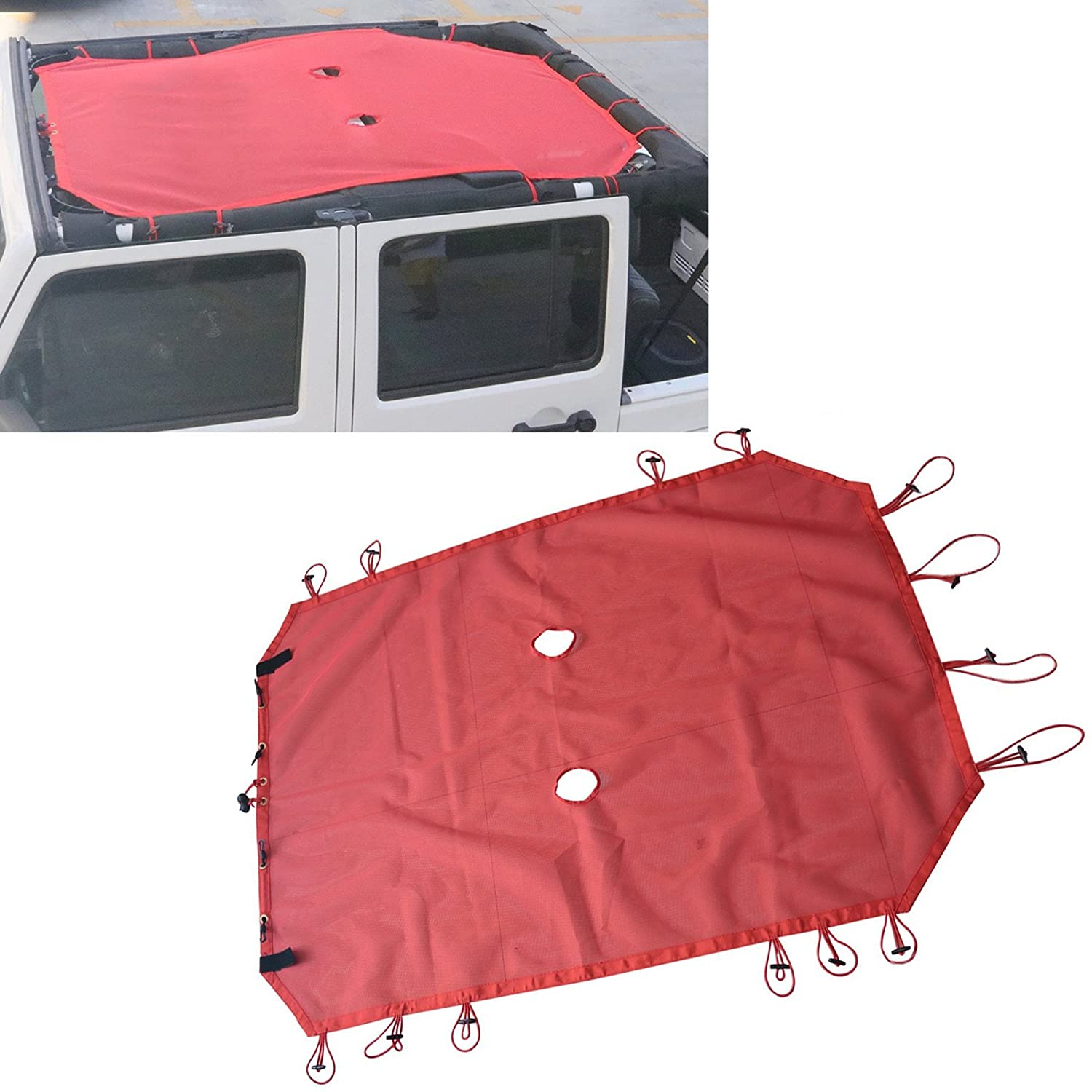 Without 5 Star Logo AVOMAR Red Eclipse Sunshade Mesh Sun Shade Full Top Cover UV Protection with Storage Pockets for 2007-2017 Jeep Wrangler JK /& Unlimited 4 Door