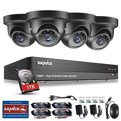 SANNCE Vigilancia Juego Video Vigilancia 4 CH 1080P AHD DVR Recorder con 4 x 1080P Dome