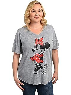 Amazon.com: Disney Women\'s Plus Size Minnie Mouse V Neck T Shirt ...