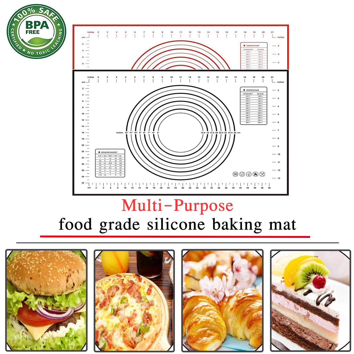 Large Pastry Rolling Mat with Measurements Non-Stick,Reusable Kitchen Cooking Mat BPA Free,for Pizza Dishwasher Safe Breads Silicone Baking Mats Set of 2 Fondant 15.8 x 19.7 Cookie Dough