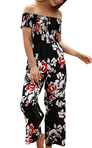 Womens Jumpsuits Floral Print Off Shoulder Romper Casual Strapless Wide Leg Pants Jumpsuit,Small,Black