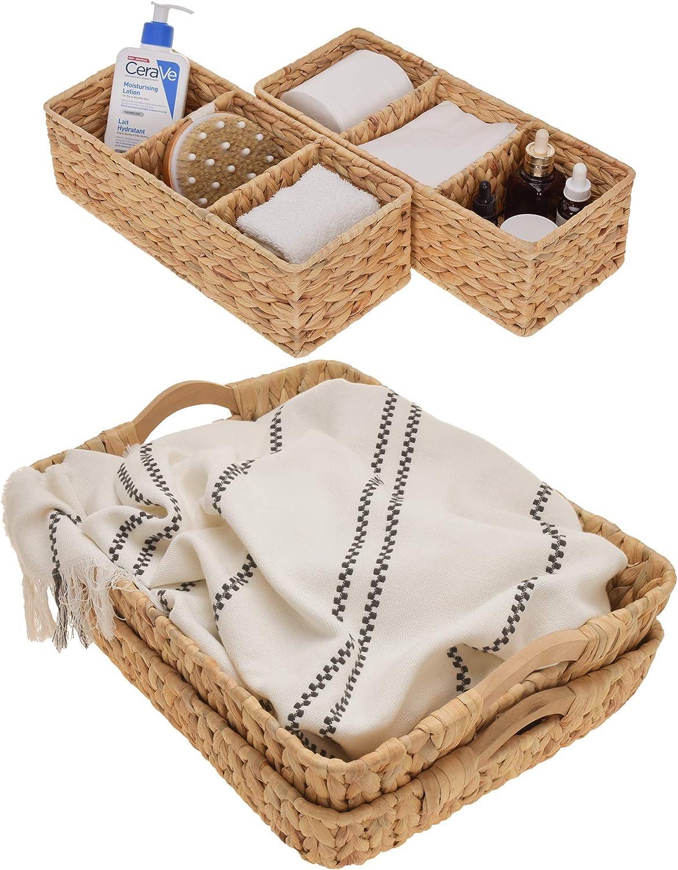 StorageWorks 3-Section Wicker Baskets and Jumbo Storage Baskets Set