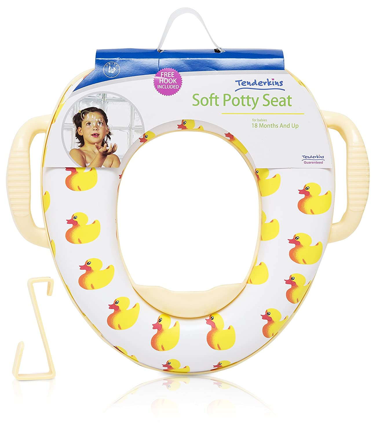 Tenderkins Soft Potty Training Potty Seat with Handles & Splash Guard - FREE HOOK INCLUDED - by Unity (Rubber Ducky) Unity-Frankford
