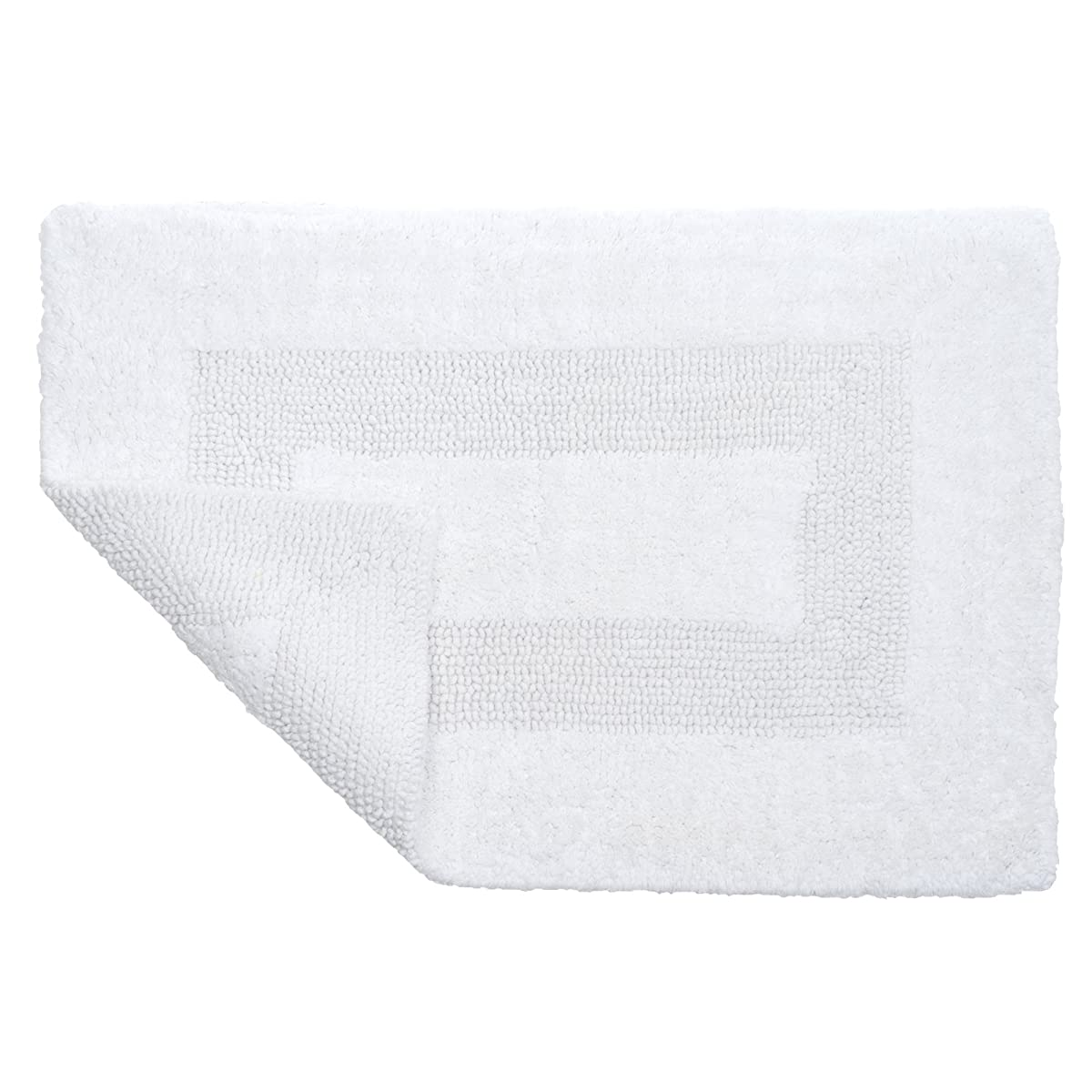 Cotton Bath Mat Set- 2 Piece 100 Percent Cotton Mats- Reversible, Soft, Absorbent and Machine Washable Bathroom Rugs By Lavish Home (White)