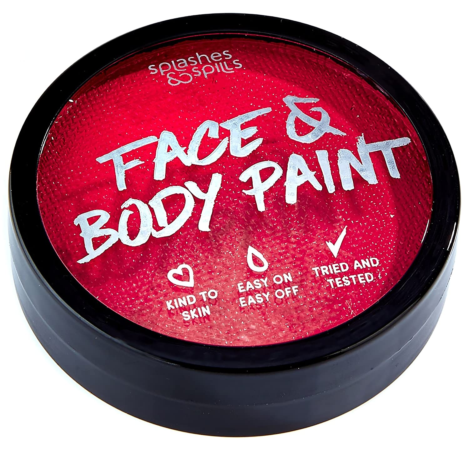 Water Activated Face and Body Paint - Red, 18g Cake Tub - Pretend Costume and Dress Up Makeup by Splashes & Spills