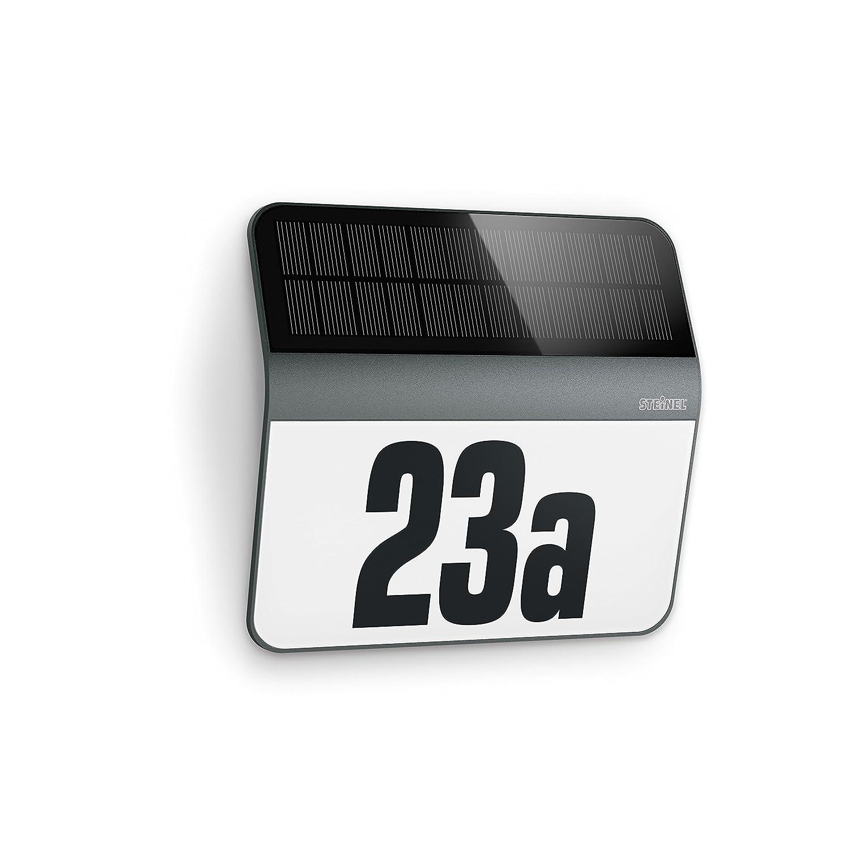 Steinel LED Solar Leuchte XSolar LH-N edelstahl, Dämmerungsschalter, 1100 mAh LiFe-Akku, inkl. beleuchtete Hausnummer, 22,7 x 24,2 x 5,1 cm [Energieklasse A+], 007140 [Energieklasse A+] Dämmerungsschalter