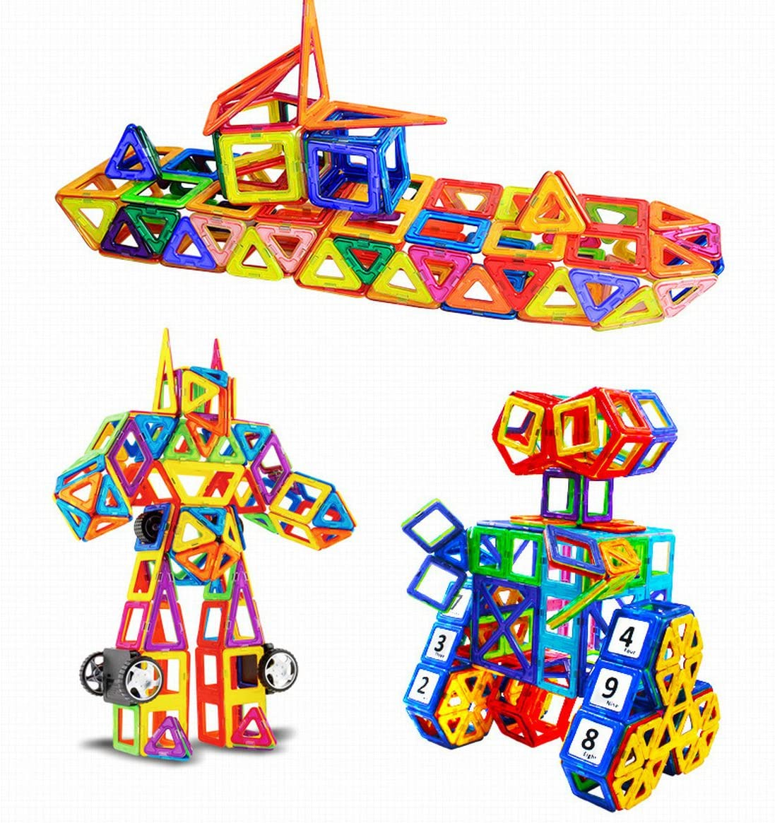 ZCOINS 141 Pieces Set Magnetic Building Blocks Toys with Wheels Educational Magnet Bricks Tiles Stacking Toy Kit