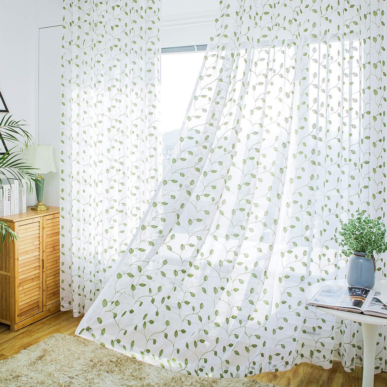 9ft Long Leaf Sheer Curtains Extra Length - Elegant Home Decration Wide Solid Voile Window Panels for Patio/Sliding Door/Living Room (52