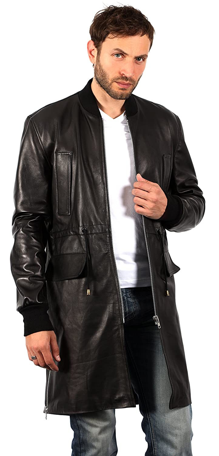 Mens Long Black Nappa Leather Bomber Varsity Jacket at Amazon Mens Clothing store: