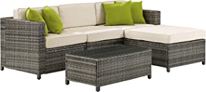 Crosley Furniture KO70144-GY Sea Island Outdoor Wicker 5-Piece Sectional Set, Gray with Crème Cushions