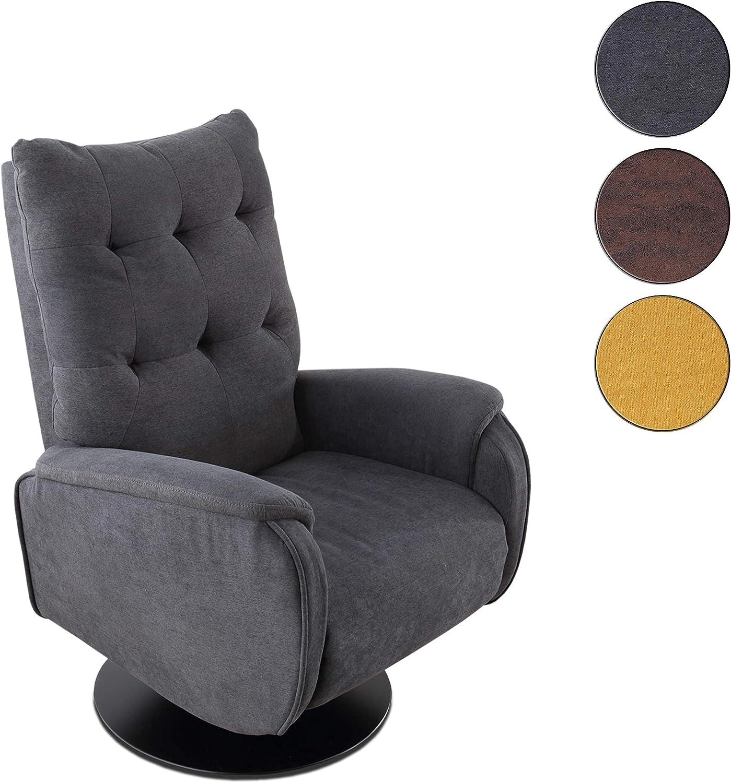 Sillón Relax Giratorio, tapizado en Tejido Color Gris, butaca Descanso, Medidas: 77 cm (Ancho) x 73 cm (Fondo) 103 cm (Alto)