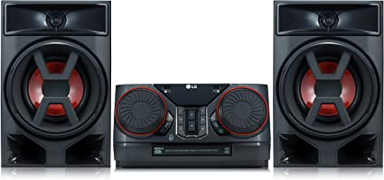 TALLA 300 Watios. LG XBOOM CK43 - Equipo de Sonido de Alta Potencia (Potencia 300 W, Bluetooth, USB Dual, Entrada AUX, Radio FM, Reproductor CD, Auto DJ, Wireless Party Link, EZ File Search, TV Sound Sync) Color Negro