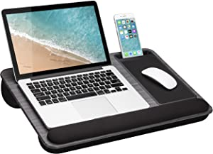 LapGear Home Office Pro Lap Desk with Wrist Rest, Mouse Pad, and Phone Holder - Fits Up to 15.6 Inch Laptops - Gray Woodgrain - Style No. 91595